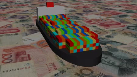 финансы : Container ship with Yuan animation