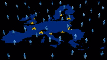 europe population : EU map flag with many abstract people animation