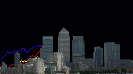 docklands : London Docklands skyline with graph animation