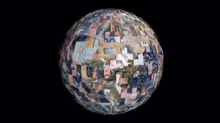euro : Rotating earth is covered by euros sphere animation