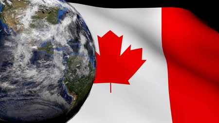 kanadai : Rotating earth with rippling Canadian flag animation
