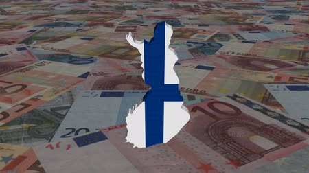 finlandês : Finland map flag with scrolling Euros animation Stock Footage