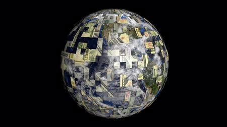 orbe : Rotating earth is covered by American dollars sphere animation Stock Footage