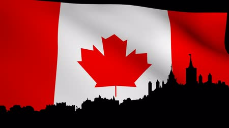 kanadai : Ottawa skyline with rippling Canadian Flag animation
