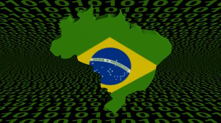 brasil : Pixelating Brazil map flag with abstract binary animation