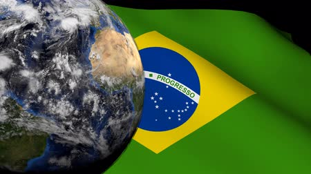 brazília : Rotating earth with rippling Brazilian flag animation