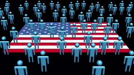 desemprego : American flag with many abstract people animation Stock Footage