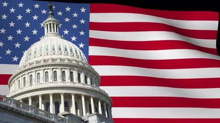 amerikan : US capitol building with rippling American Flag animation