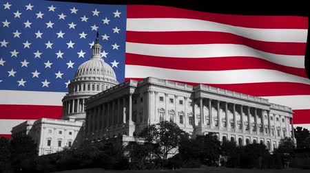 kormány : US capitol building with rippling American Flag animation