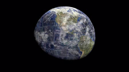 dolar : Rotating earth blending into dollar sphere animation Dostupné videozáznamy