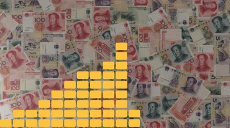 ekonomi : Graph on scrolling Chinese Yuan animation