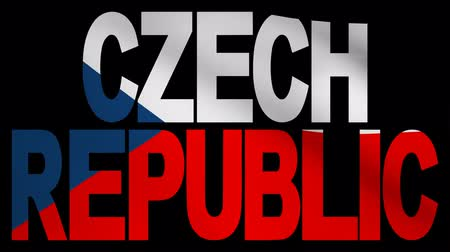 cseh : Czech Republic text with fluttering flag animation Stock mozgókép