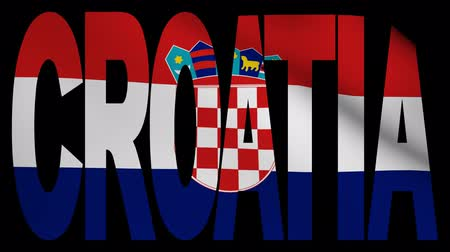 hırvat : Croatia text with fluttering flag animation