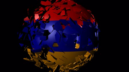 converge : Armenia flag sphere combining and breaking apart animation
