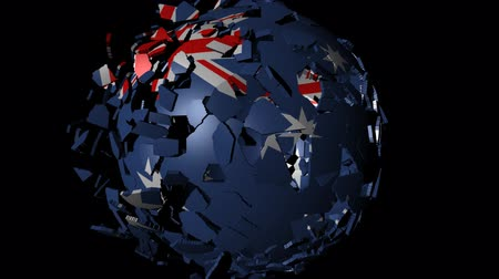 converge : Australia flag sphere combining and breaking apart animation Stock Footage