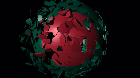 converge : Bangladesh flag sphere combining and breaking apart animation Stock Footage