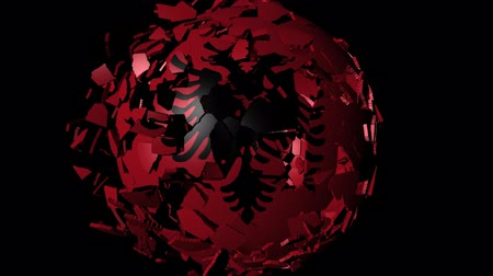 converge : Albania flag sphere combining and breaking apart animation Stock Footage