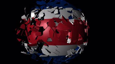 converge : Costa Rica flag sphere combining and breaking apart animation