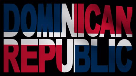 dominikana : Dominican Republic text with fluttering flag animation Wideo