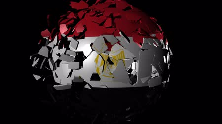 converge : Egypt flag sphere combining and breaking apart animation