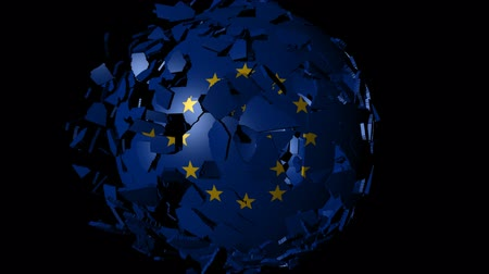 união europeia : EU flag sphere combining and breaking apart animation Stock Footage