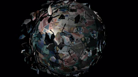 união europeia : Euros globe sphere combining and breaking apart animation Stock Footage