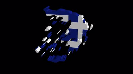 греческий : Greece map flag rotating on black animation