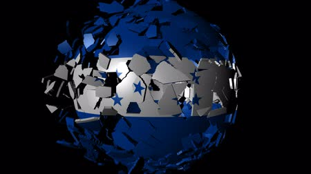 converge : Honduras flag sphere combining and breaking apart animation Stock Footage
