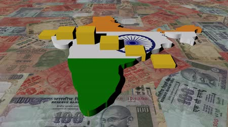 indie : India map flag with graph on Rupees animation