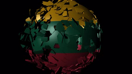 converge : Lithuania flag sphere combining and breaking apart animation
