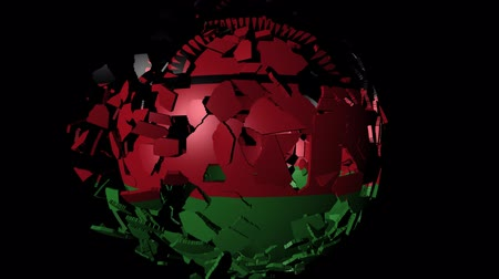 converge : Malawi flag sphere combining and breaking apart animation