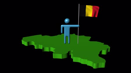 belga : Abstract man with fluttering flag on Belgium map animation Stock Footage