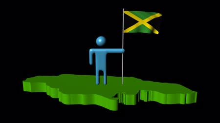 jamaica : Abstract man with fluttering flag on Jamaica map animation Stock Footage