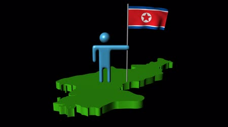 north korean flag : Abstract man with fluttering flag on North Korea map animation Stock Footage
