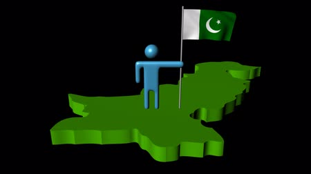 paquistão : Abstract man with fluttering flag on Pakistan map animation