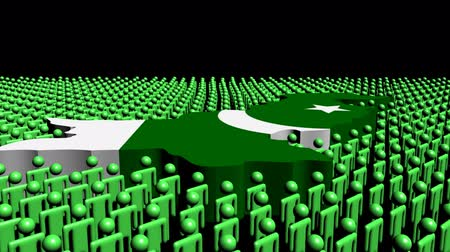 Пакистан : Pakistan map flag surrounded by many abstract people animation