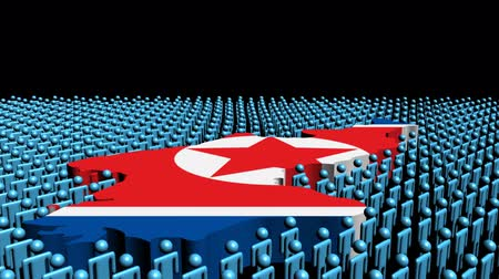 north korean flag : North Korea map flag surrounded by many abstract people animation