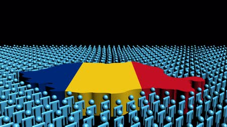 romeno : Romania map flag surrounded by many abstract people animation