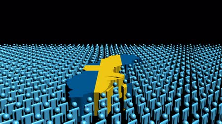 Швеция : Sweden map flag surrounded by many abstract people animation