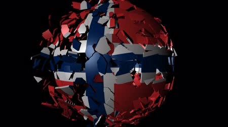 norvégia : Norway flag sphere combining and breaking apart animation Stock mozgókép
