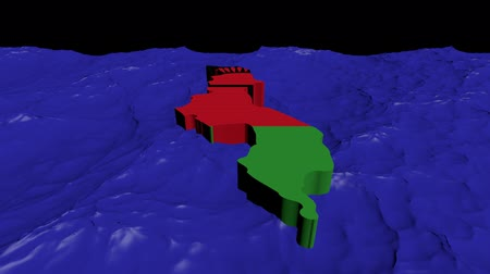 malawi : Malawi map flag in abstract ocean animation