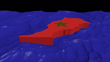марокканский : Morocco map flag in abstract ocean animation Стоковые видеозаписи