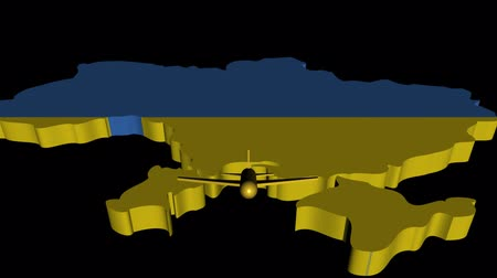 Украина : Plane taking off from Ukraine map flag animation Стоковые видеозаписи