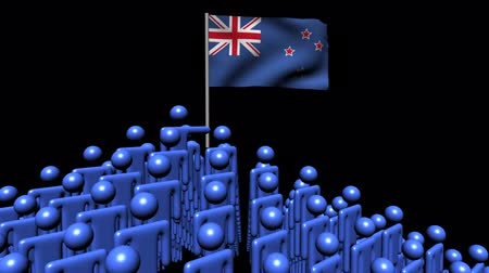 piramit : Zooming out from pyramid of men with rippling New Zealand flag animation Stok Video