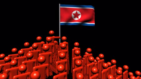 north korean flag : Zooming out from pyramid of men with North Korea flag animation Stock Footage