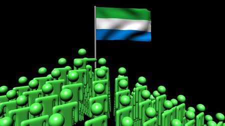 sierra leone flag : Zooming out from pyramid of men with Sierra Leone flag animation