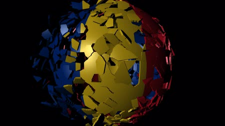 converge : Romania flag sphere combining and breaking apart animation