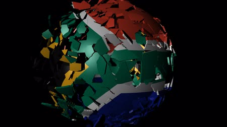 délre : South Africa flag sphere combining and breaking apart animation Stock mozgókép