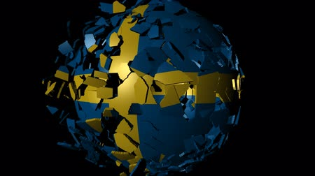 converge : Sweden flag sphere combining and breaking apart animation