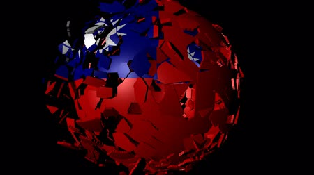 converge : Taiwan flag sphere combining and breaking apart animation